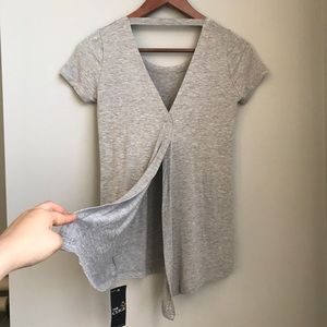 Deep V-back gray T shirt